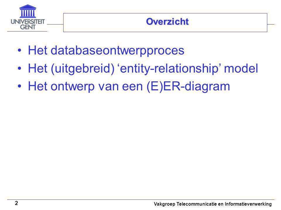 Vakgroep Telecommunicatie en Informatieverwerking 3 Overzicht Het databaseontwerpproces Het (uitgebreid) 'entity-relationship' model Het ontwerp van een (E)ER-diagram