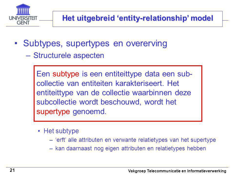Vakgroep Telecommunicatie en Informatieverwerking 21 Het uitgebreid 'entity-relationship' model Subtypes, supertypes en overerving –Structurele aspect