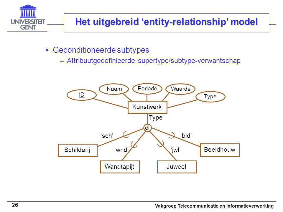 Vakgroep Telecommunicatie en Informatieverwerking 26 Het uitgebreid 'entity-relationship' model Geconditioneerde subtypes –Attribuutgedefinieerde supe