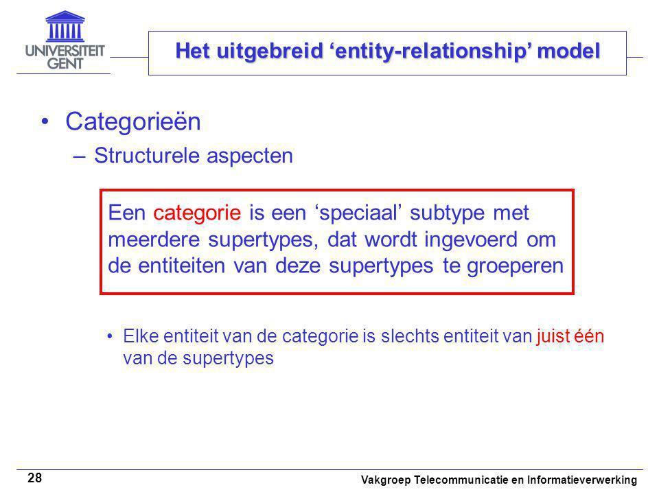 Vakgroep Telecommunicatie en Informatieverwerking 28 Het uitgebreid 'entity-relationship' model Categorieën –Structurele aspecten Elke entiteit van de