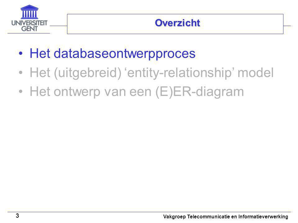 Vakgroep Telecommunicatie en Informatieverwerking 3 Overzicht Het databaseontwerpproces Het (uitgebreid) 'entity-relationship' model Het ontwerp van e