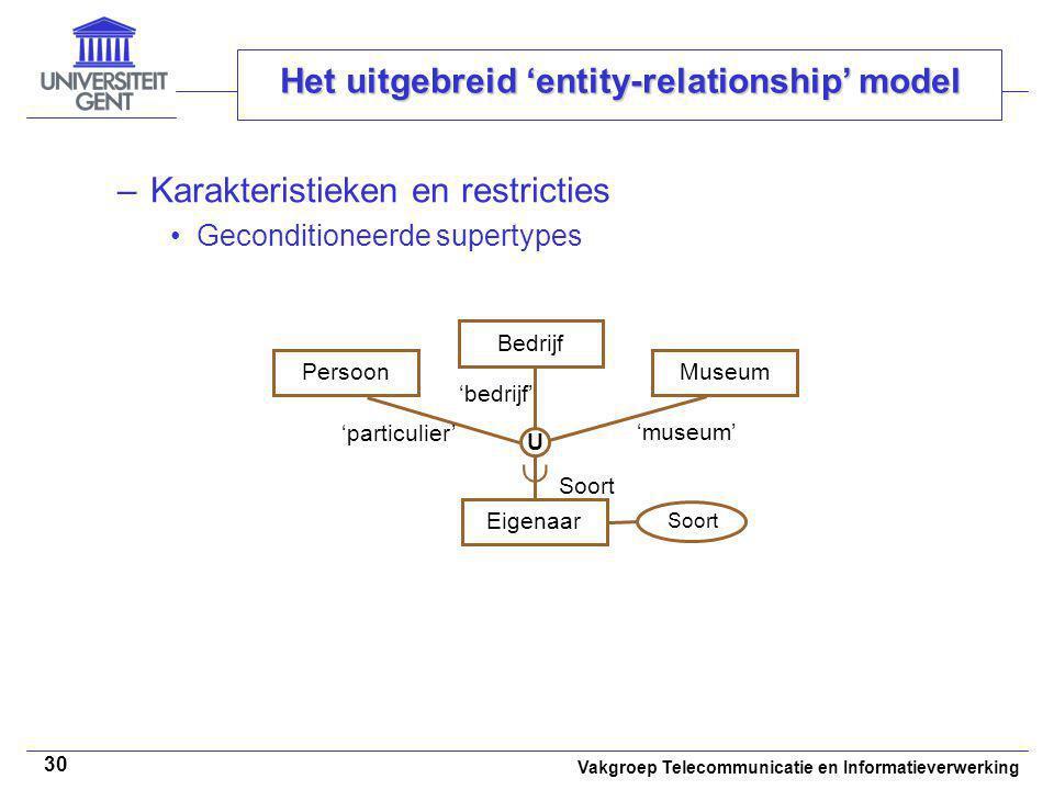 Vakgroep Telecommunicatie en Informatieverwerking 30 Het uitgebreid 'entity-relationship' model –Karakteristieken en restricties Geconditioneerde supe