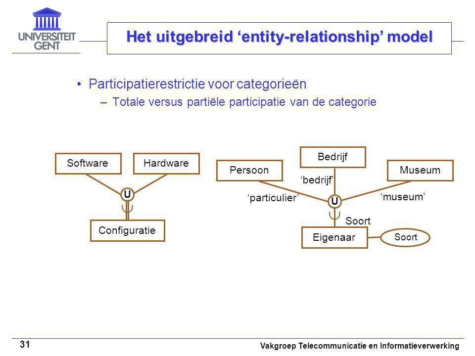 Vakgroep Telecommunicatie en Informatieverwerking 31 Het uitgebreid 'entity-relationship' model Participatierestrictie voor categorieën –Totale versus