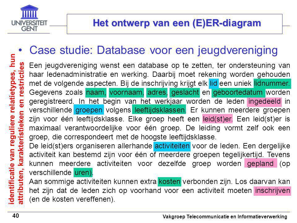 Vakgroep Telecommunicatie en Informatieverwerking 40 Het ontwerp van een (E)ER-diagram Case studie: Database voor een jeugdvereniging Een jeugdverenig