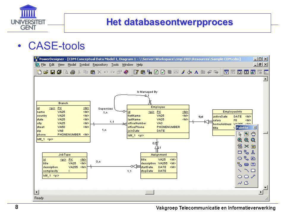 Vakgroep Telecommunicatie en Informatieverwerking 8 Het databaseontwerpproces CASE-tools