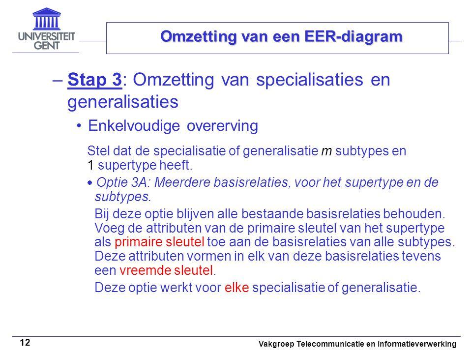 Vakgroep Telecommunicatie en Informatieverwerking 12 Omzetting van een EER-diagram –Stap 3: Omzetting van specialisaties en generalisaties Enkelvoudig