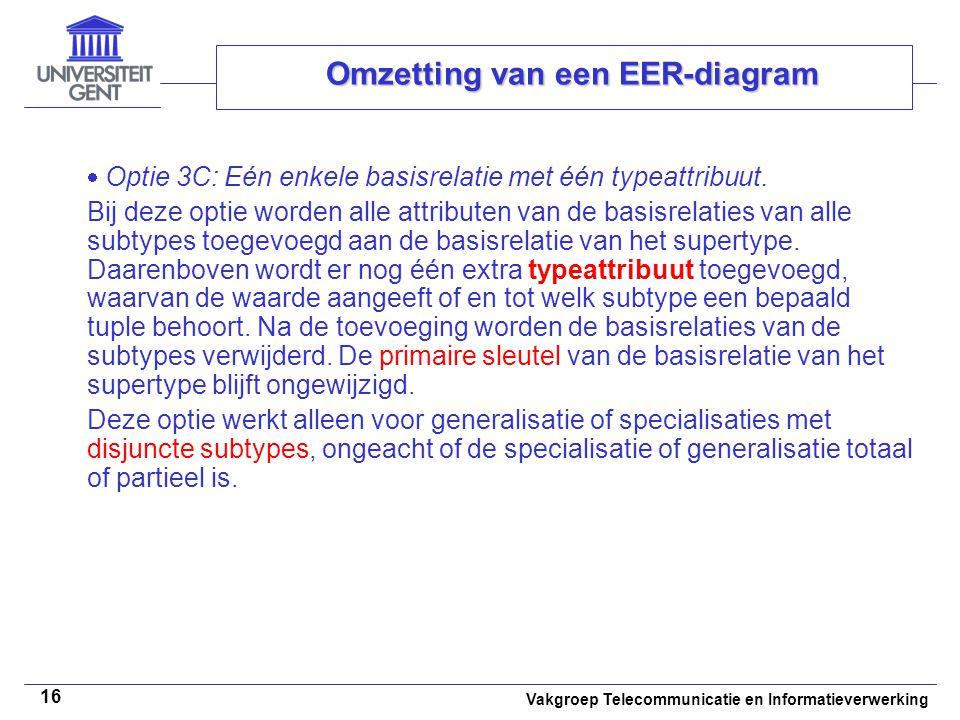Vakgroep Telecommunicatie en Informatieverwerking 16 Omzetting van een EER-diagram  Optie 3C: Eén enkele basisrelatie met één typeattribuut. Bij deze