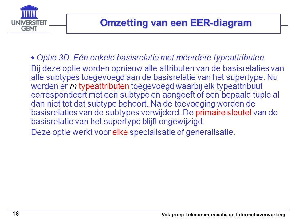 Vakgroep Telecommunicatie en Informatieverwerking 18 Omzetting van een EER-diagram  Optie 3D: Eén enkele basisrelatie met meerdere typeattributen. Bi