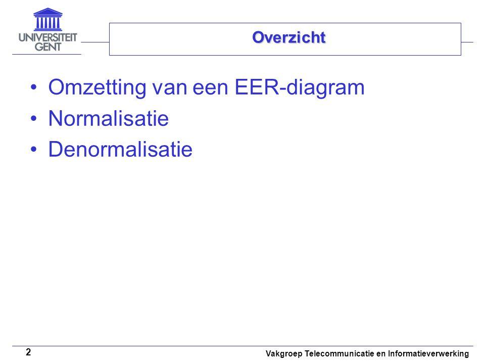 Vakgroep Telecommunicatie en Informatieverwerking 3 Overzicht Omzetting van een EER-diagram –Overzicht –Het omzettingsalgoritme voor relationele databases –Aanmaken van gedragspecificaties –Case studie Normalisatie Denormalisatie