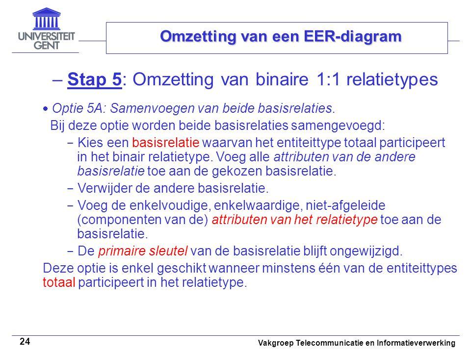 Vakgroep Telecommunicatie en Informatieverwerking 24 Omzetting van een EER-diagram –Stap 5: Omzetting van binaire 1:1 relatietypes  Optie 5A: Samenvo