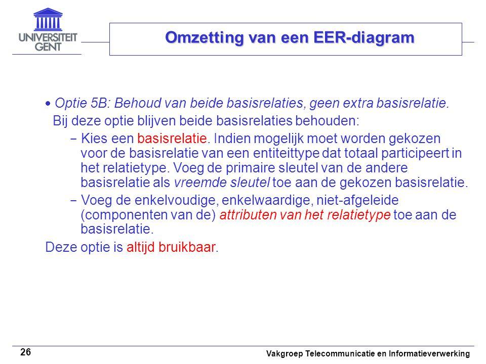 Vakgroep Telecommunicatie en Informatieverwerking 26 Omzetting van een EER-diagram  Optie 5B: Behoud van beide basisrelaties, geen extra basisrelatie