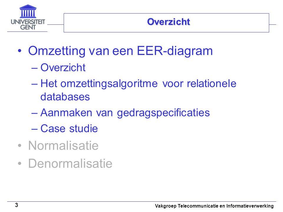 Vakgroep Telecommunicatie en Informatieverwerking 3 Overzicht Omzetting van een EER-diagram –Overzicht –Het omzettingsalgoritme voor relationele datab