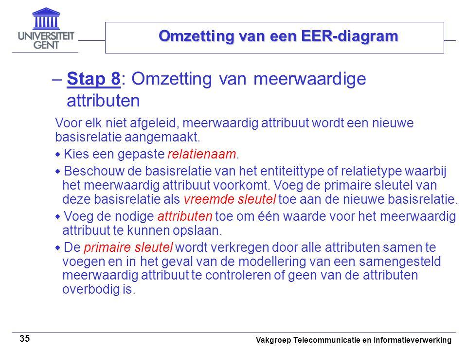 Vakgroep Telecommunicatie en Informatieverwerking 35 Omzetting van een EER-diagram –Stap 8: Omzetting van meerwaardige attributen Voor elk niet afgele