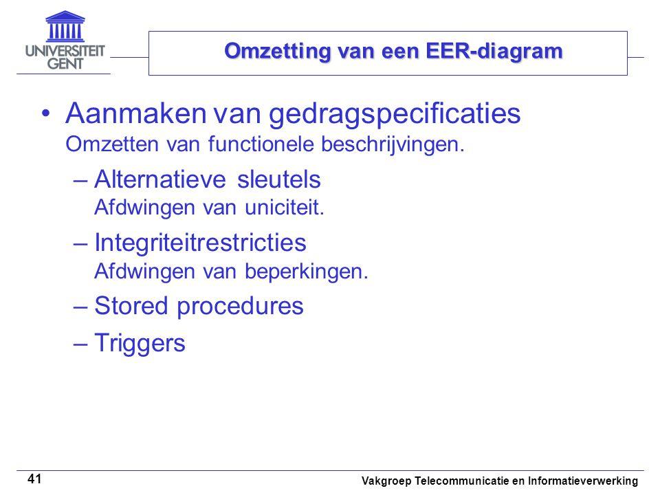 Vakgroep Telecommunicatie en Informatieverwerking 41 Omzetting van een EER-diagram Aanmaken van gedragspecificaties Omzetten van functionele beschrijv