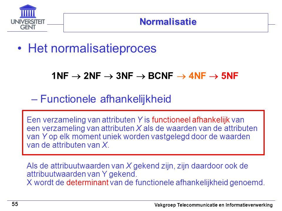 Vakgroep Telecommunicatie en Informatieverwerking 55 Normalisatie Het normalisatieproces –Functionele afhankelijkheid 1NF  2NF  3NF  BCNF  4NF  5