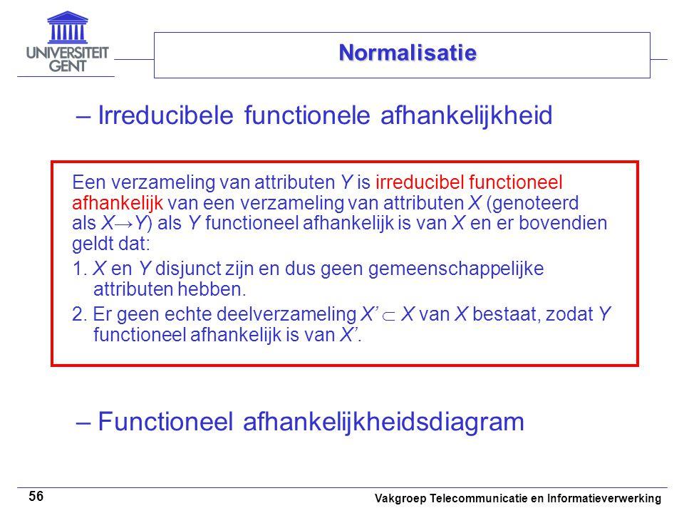 Vakgroep Telecommunicatie en Informatieverwerking 56 Normalisatie –Irreducibele functionele afhankelijkheid –Functioneel afhankelijkheidsdiagram Een v