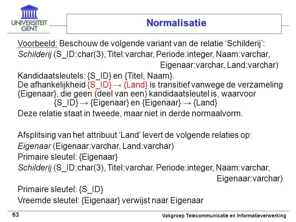 Vakgroep Telecommunicatie en Informatieverwerking 63 Normalisatie Voorbeeld: Beschouw de volgende variant van de relatie 'Schilderij': Schilderij (S_I