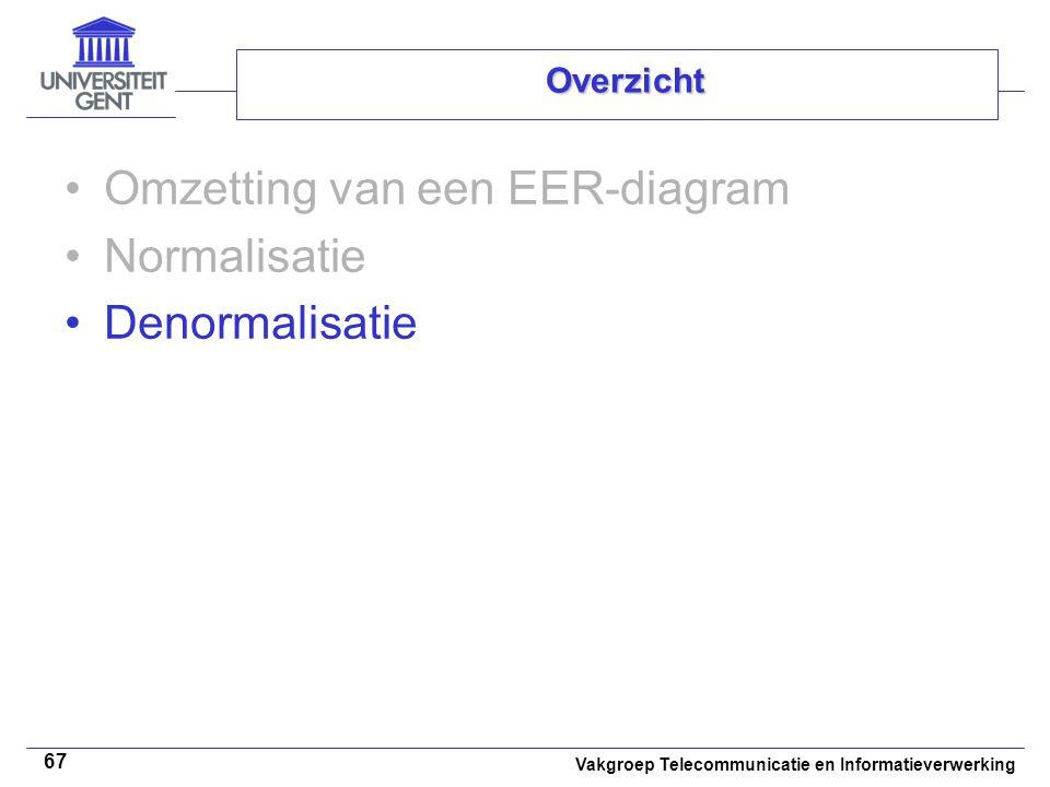 Vakgroep Telecommunicatie en Informatieverwerking 67 Overzicht Omzetting van een EER-diagram Normalisatie Denormalisatie