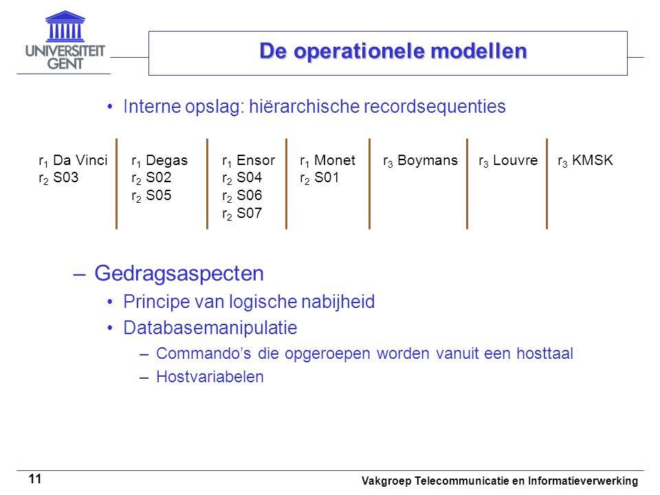 Vakgroep Telecommunicatie en Informatieverwerking 11 De operationele modellen Interne opslag: hiërarchische recordsequenties –Gedragsaspecten Principe