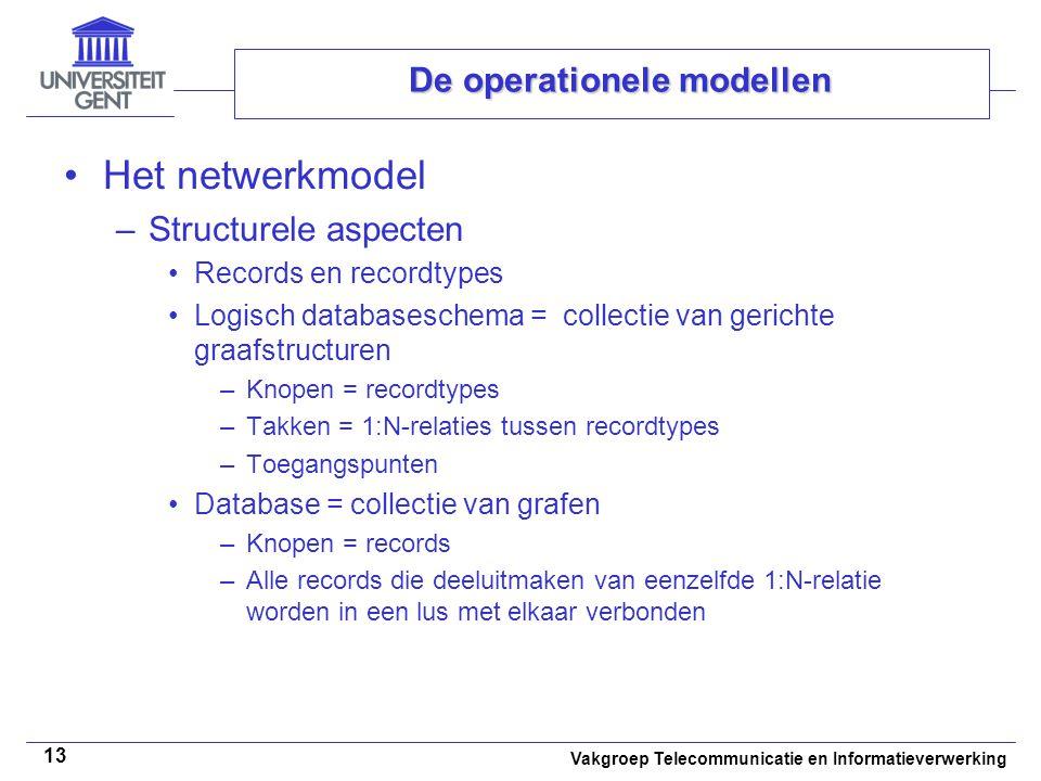 Vakgroep Telecommunicatie en Informatieverwerking 13 De operationele modellen Het netwerkmodel –Structurele aspecten Records en recordtypes Logisch da