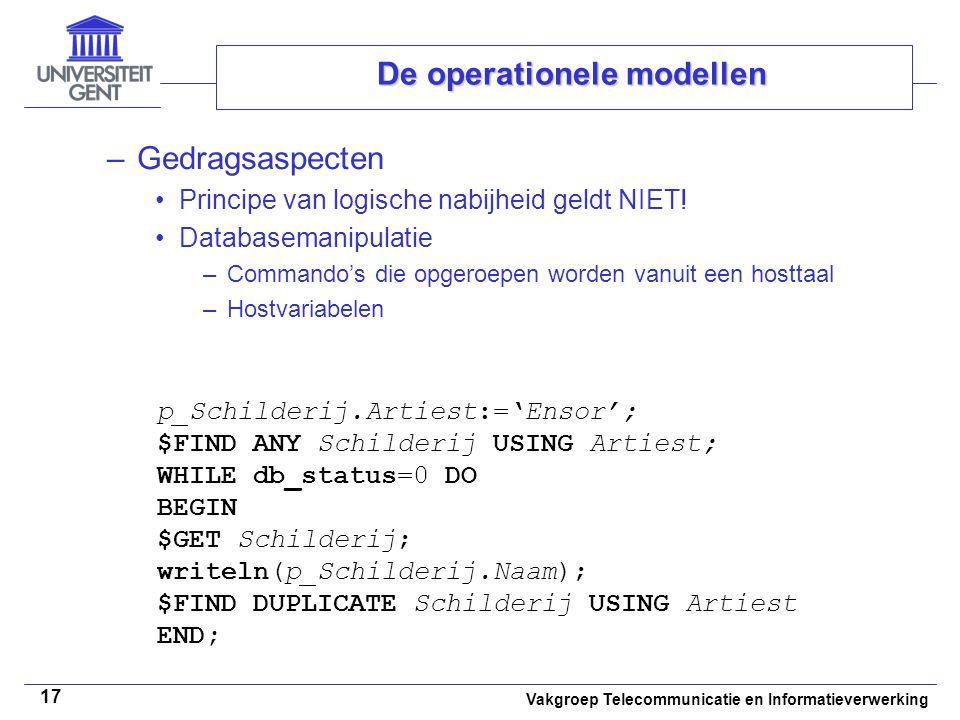Vakgroep Telecommunicatie en Informatieverwerking 17 De operationele modellen –Gedragsaspecten Principe van logische nabijheid geldt NIET! Databaseman