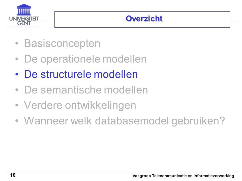 Vakgroep Telecommunicatie en Informatieverwerking 18 Overzicht Basisconcepten De operationele modellen De structurele modellen De semantische modellen