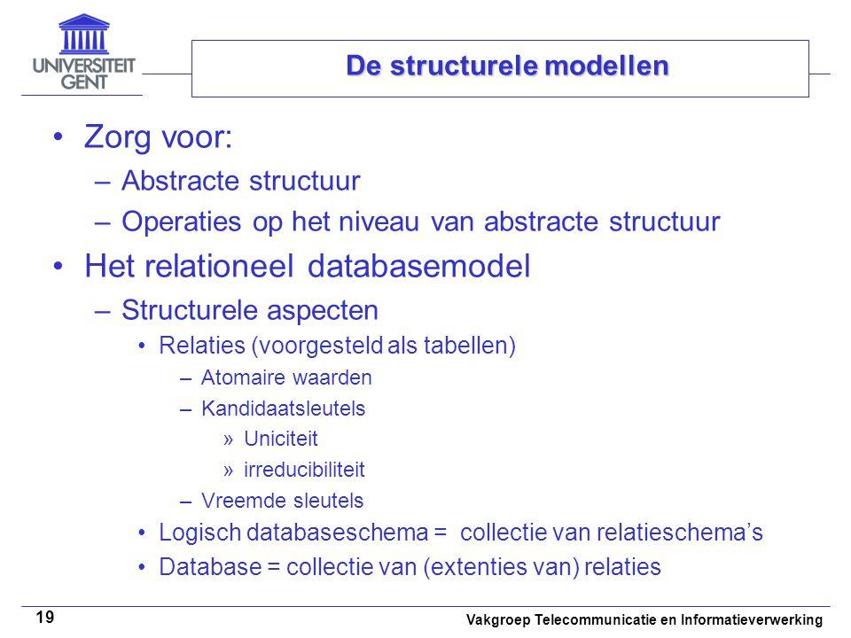 Vakgroep Telecommunicatie en Informatieverwerking 19 De structurele modellen Zorg voor: –Abstracte structuur –Operaties op het niveau van abstracte st