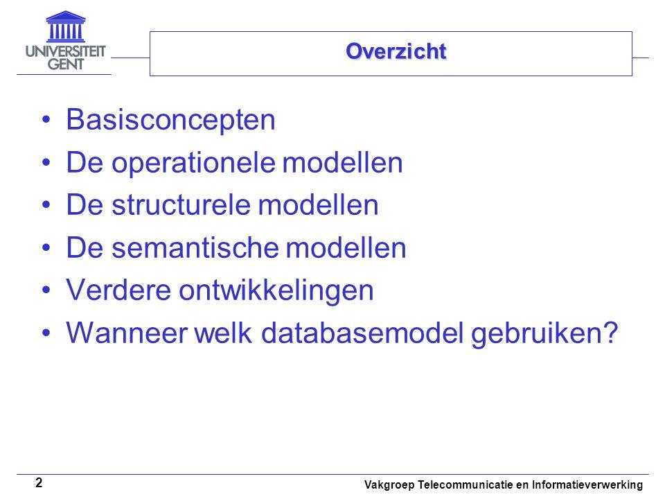 Vakgroep Telecommunicatie en Informatieverwerking 23 Overzicht Basisconcepten De operationele modellen De structurele modellen De semantische modellen Verdere ontwikkelingen Wanneer welk databasemodel gebruiken?