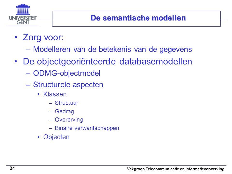Vakgroep Telecommunicatie en Informatieverwerking 24 De semantische modellen Zorg voor: –Modelleren van de betekenis van de gegevens De objectgeoriënt