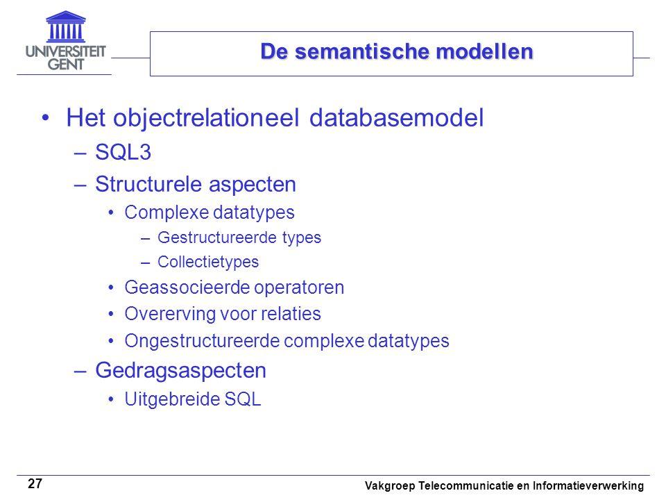 Vakgroep Telecommunicatie en Informatieverwerking 27 De semantische modellen Het objectrelationeel databasemodel –SQL3 –Structurele aspecten Complexe
