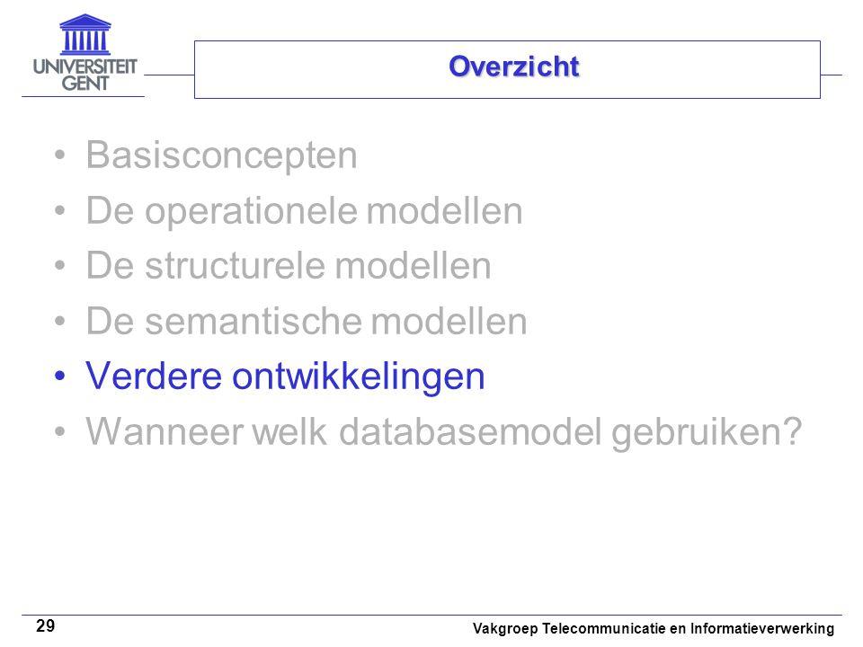 Vakgroep Telecommunicatie en Informatieverwerking 29 Overzicht Basisconcepten De operationele modellen De structurele modellen De semantische modellen