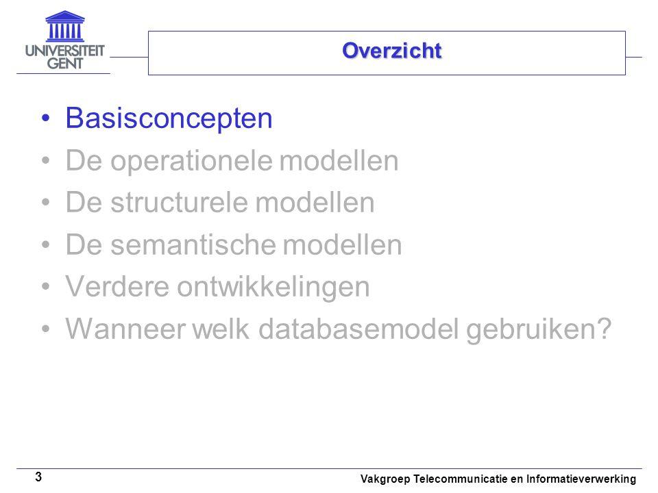 Vakgroep Telecommunicatie en Informatieverwerking 24 De semantische modellen Zorg voor: –Modelleren van de betekenis van de gegevens De objectgeoriënteerde databasemodellen –ODMG-objectmodel –Structurele aspecten Klassen –Structuur –Gedrag –Overerving –Binaire verwantschappen Objecten