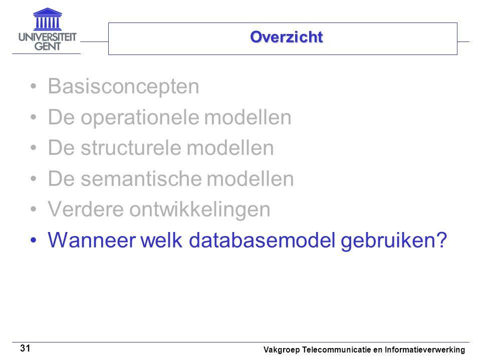 Vakgroep Telecommunicatie en Informatieverwerking 31 Overzicht Basisconcepten De operationele modellen De structurele modellen De semantische modellen