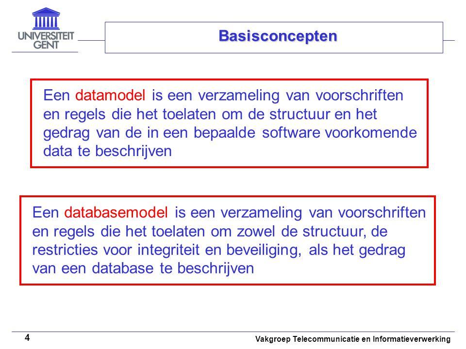 Vakgroep Telecommunicatie en Informatieverwerking 4 Basisconcepten Een datamodel is een verzameling van voorschriften en regels die het toelaten om de
