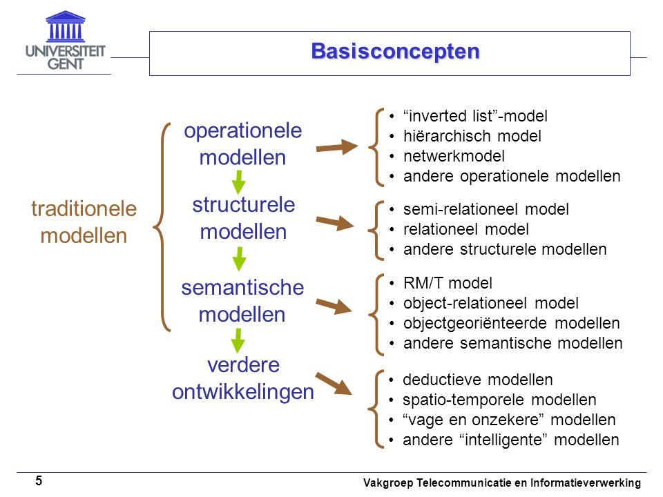 """Vakgroep Telecommunicatie en Informatieverwerking 5 Basisconcepten operationele modellen """"inverted list""""-model hiërarchisch model netwerkmodel andere"""