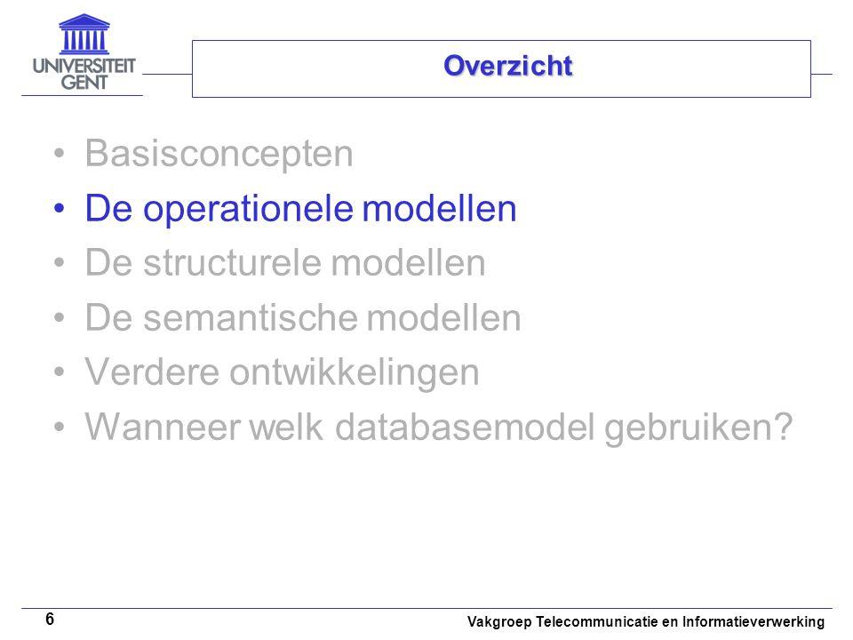 Vakgroep Telecommunicatie en Informatieverwerking 27 De semantische modellen Het objectrelationeel databasemodel –SQL3 –Structurele aspecten Complexe datatypes –Gestructureerde types –Collectietypes Geassocieerde operatoren Overerving voor relaties Ongestructureerde complexe datatypes –Gedragsaspecten Uitgebreide SQL