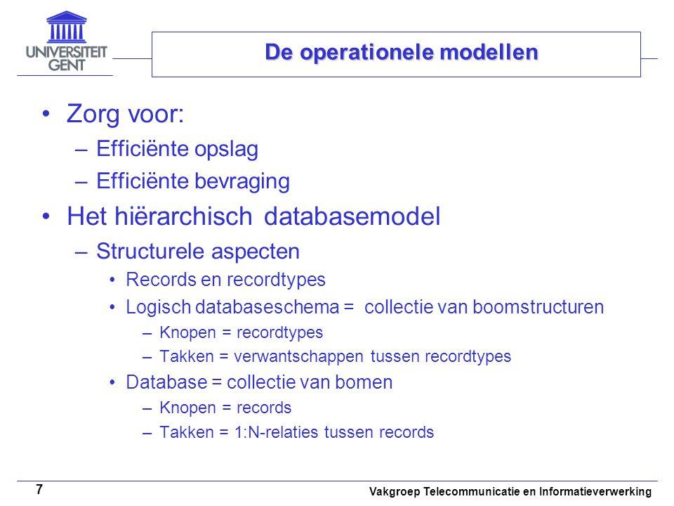 Vakgroep Telecommunicatie en Informatieverwerking 8 De operationele modellen Virtuele 'ouder-kind'-relaties –Modelleren van M:N-relaties –Modelleren van kindknopen met meerdere ouderknopen