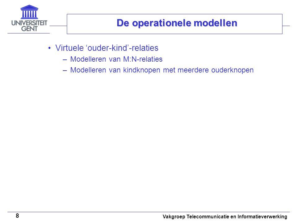 Vakgroep Telecommunicatie en Informatieverwerking 8 De operationele modellen Virtuele 'ouder-kind'-relaties –Modelleren van M:N-relaties –Modelleren v