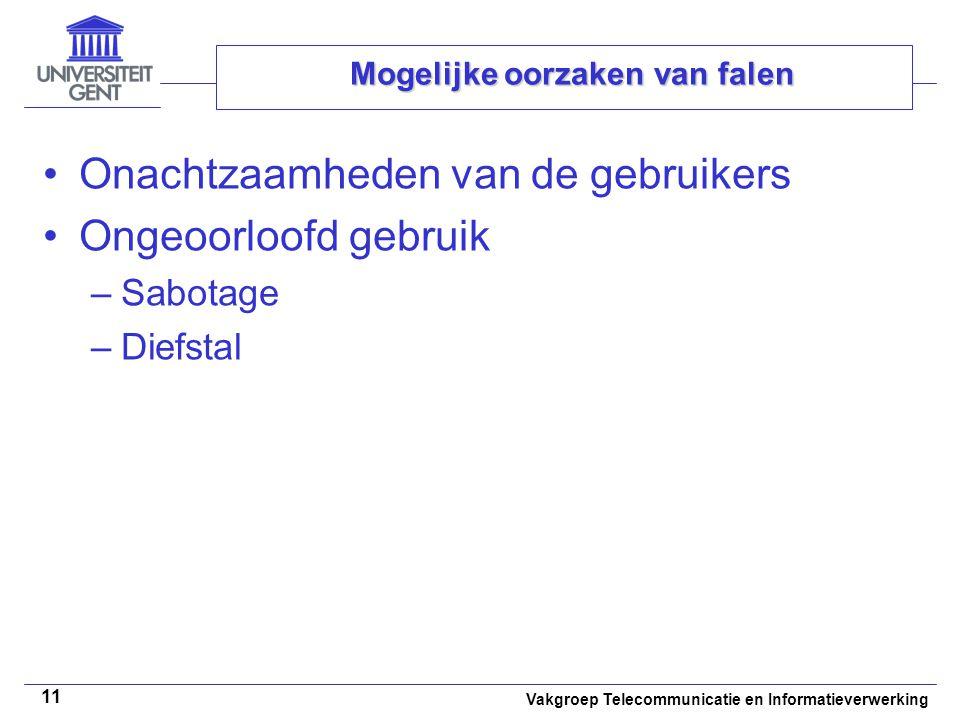 Vakgroep Telecommunicatie en Informatieverwerking 11 Mogelijke oorzaken van falen Onachtzaamheden van de gebruikers Ongeoorloofd gebruik –Sabotage –Diefstal