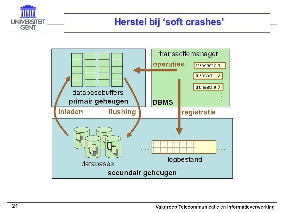 Vakgroep Telecommunicatie en Informatieverwerking 21 Herstel bij 'soft crashes'