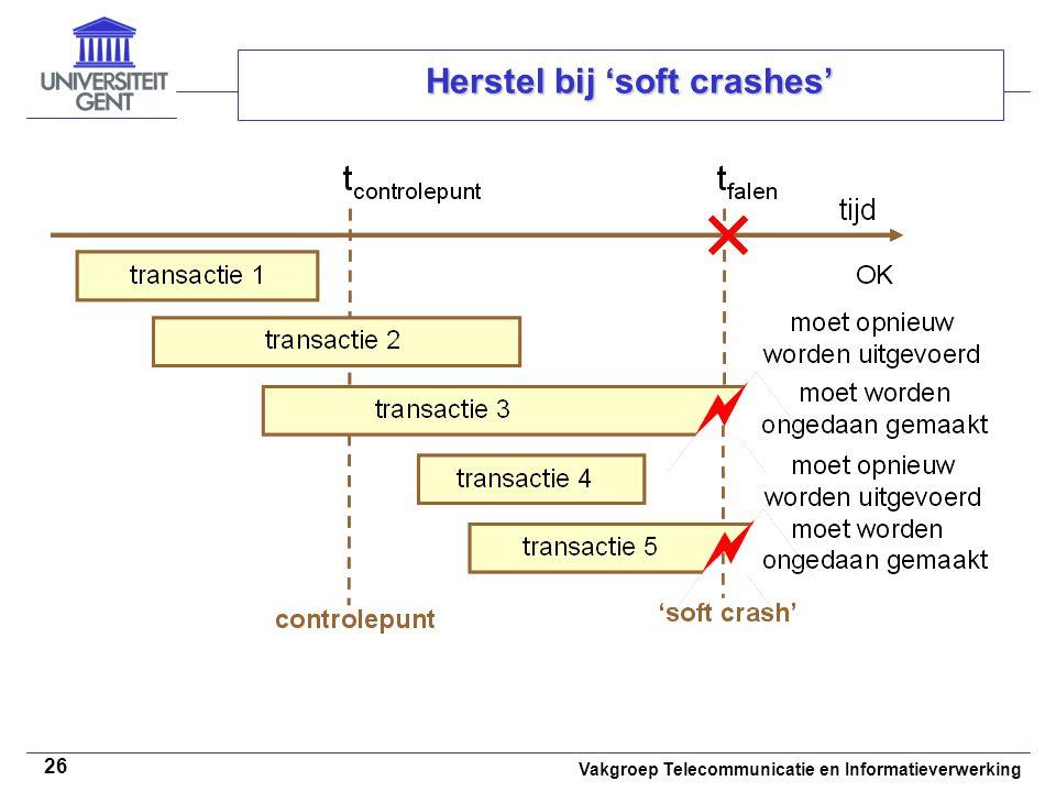 Vakgroep Telecommunicatie en Informatieverwerking 26 Herstel bij 'soft crashes'