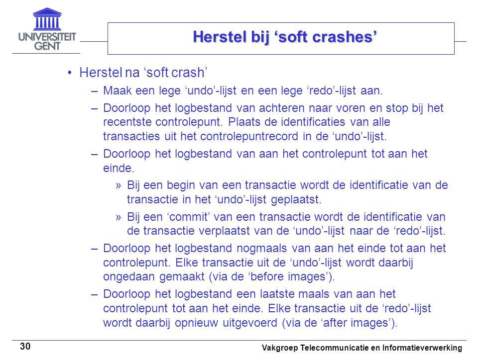 Vakgroep Telecommunicatie en Informatieverwerking 30 Herstel bij 'soft crashes' Herstel na 'soft crash' –Maak een lege 'undo'-lijst en een lege 'redo'-lijst aan.