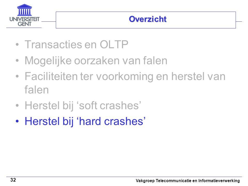 Vakgroep Telecommunicatie en Informatieverwerking 32 Overzicht Transacties en OLTP Mogelijke oorzaken van falen Faciliteiten ter voorkoming en herstel van falen Herstel bij 'soft crashes' Herstel bij 'hard crashes'