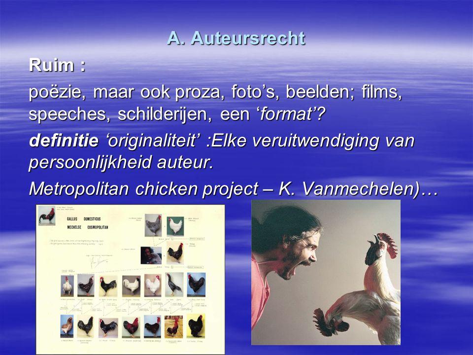 A. Auteursrecht Ruim : poëzie, maar ook proza, foto's, beelden; films, speeches, schilderijen, een 'format'? definitie 'originaliteit' :Elke veruitwen