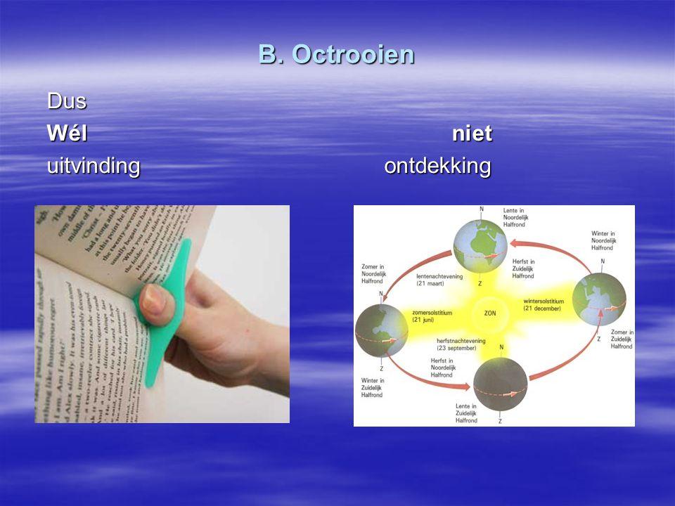 B. Octrooien Dus Wélniet uitvindingontdekking