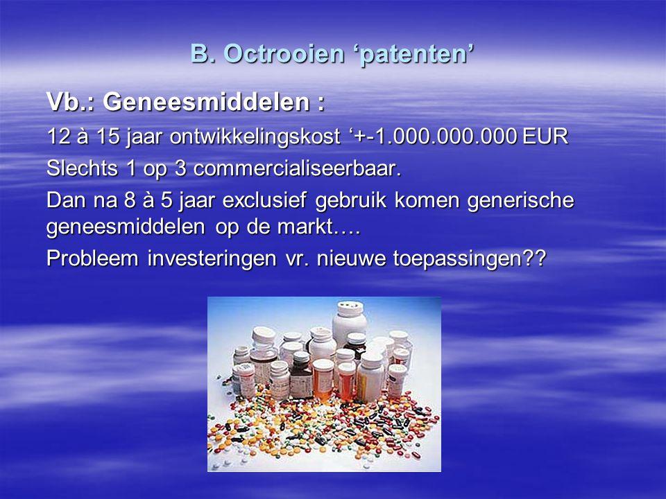 B. Octrooien 'patenten' Vb.: Geneesmiddelen : 12 à 15 jaar ontwikkelingskost '+-1.000.000.000 EUR Slechts 1 op 3 commercialiseerbaar. Dan na 8 à 5 jaa