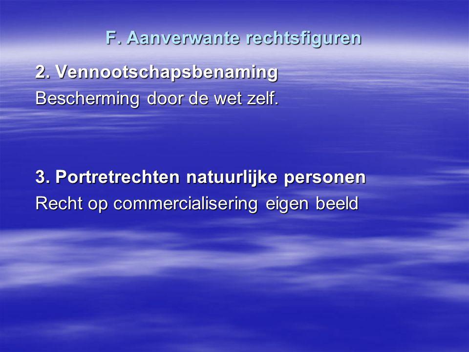 F. Aanverwante rechtsfiguren 2. Vennootschapsbenaming Bescherming door de wet zelf. 3. Portretrechten natuurlijke personen Recht op commercialisering