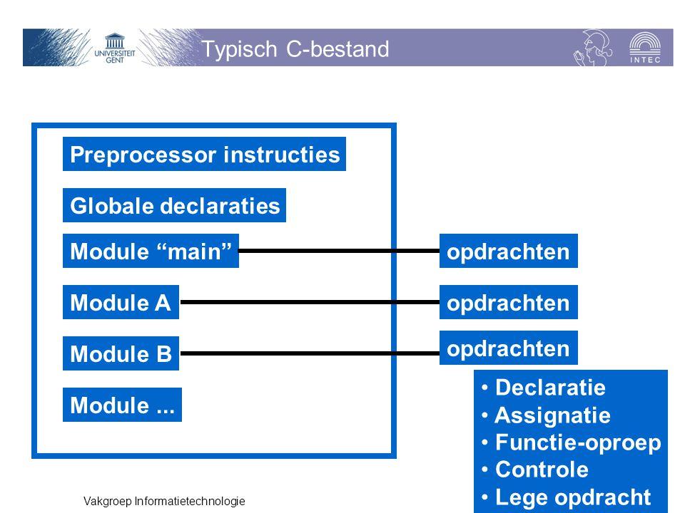 "p. 6 Vakgroep Informatietechnologie Typisch C-bestand Preprocessor instructies Globale declaraties Module ""main"" Module A Module B Module... opdrachte"