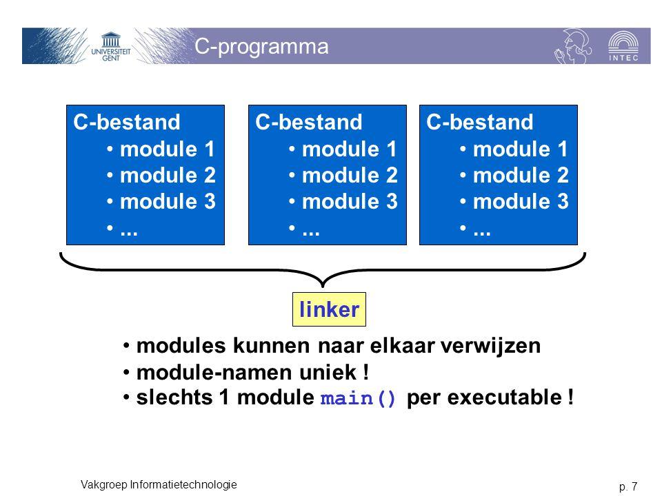 p. 7 Vakgroep Informatietechnologie C-programma C-bestand module 1 module 2 module 3...
