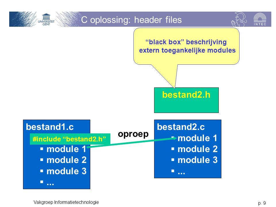 p. 9 Vakgroep Informatietechnologie C oplossing: header files bestand1.c  module 1  module 2  module 3 ... bestand2.c  module 1  module 2  modu